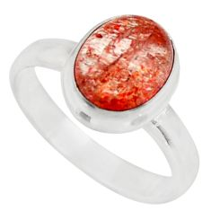 925 silver 4.29cts natural orange sunstone oval solitaire ring size 8 d35777