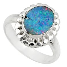 3.75cts natural doublet opal australian 925 silver solitaire ring size 7 d35778