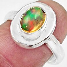 Clearance Sale- 2.12cts natural multi color ethiopian opal silver solitaire ring size 8 d35779