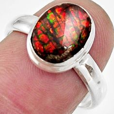 4.22cts natural multi color ammolite 925 silver solitaire ring size 7 d35780