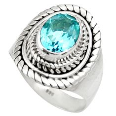 Clearance Sale- 3.02cts natural blue topaz 925 sterling silver solitaire ring size 7 d35781