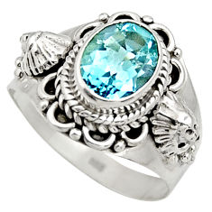Clearance Sale- 925 sterling silver 3.28cts natural blue topaz oval solitaire ring size 8 d35784