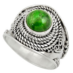 Clearance Sale- 3.16cts natural green chrome diopside 925 silver solitaire ring size 7 d35785