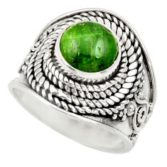 Clearance Sale- 3.15cts natural green chrome diopside 925 silver solitaire ring size 6 d35786