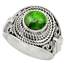 Clearance Sale- 3.29cts natural green chrome diopside 925 silver solitaire ring size 7 d35788