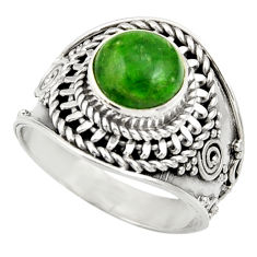 Clearance Sale- 925 silver 3.02cts natural green chrome diopside solitaire ring size 7 d35789