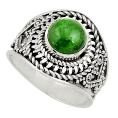 Clearance Sale- 3.17cts natural green chrome diopside 925 silver solitaire ring size 8 d35790