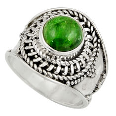 Clearance Sale- 3.25cts natural green chrome diopside 925 silver solitaire ring size 6 d35791