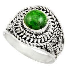 Clearance Sale- 925 silver 3.14cts natural green chrome diopside solitaire ring size 8 d35793