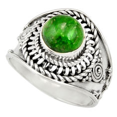 Clearance Sale- 3.16cts natural green chrome diopside 925 silver solitaire ring size 8 d35794
