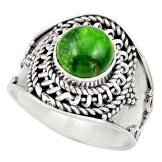 Clearance Sale- 3.28cts natural green chrome diopside 925 silver solitaire ring size 8 d35795