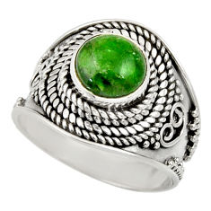 3.16cts natural green chrome diopside 925 silver solitaire ring size 8 d35796