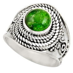 Clearance Sale- 925 silver 3.16cts natural green chrome diopside solitaire ring size 7 d35797