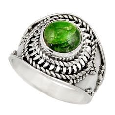 Clearance Sale- 3.16cts natural green chrome diopside 925 silver solitaire ring size 7 d35798