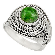 Clearance Sale- 3.67cts natural green chrome diopside 925 silver solitaire ring size 8 d35799