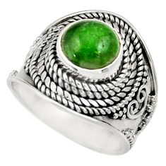 Clearance Sale- 925 silver 3.41cts natural green chrome diopside solitaire ring size 6 d35800