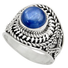 Clearance Sale- 3.28cts natural blue kyanite 925 sterling silver solitaire ring size 6 d35805