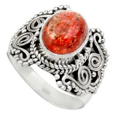 Clearance Sale- 4.27cts natural orange sunstone 925 silver solitaire ring jewelry size 7 d35811