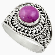 Clearance Sale- 3.16cts natural purple phosphosiderite 925 silver solitaire ring size 8 d35815