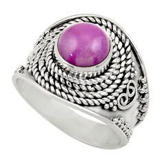 925 silver 3.16cts natural purple phosphosiderite solitaire ring size 8 d35819