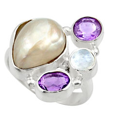 11.25cts natural white biwa pearl moonstone 925 silver ring size 7.5 d35822