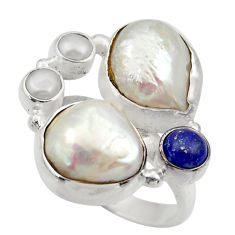 Clearance Sale- 16.09cts natural white biwa pearl lapis lazuli 925 silver ring size 7.5 d35823