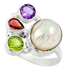 925 silver 11.62cts natural white biwa pearl amethyst ring size 8.5 d35824