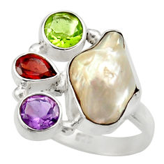 Clearance Sale- 11.92cts natural white biwa pearl amethyst garnet 925 silver ring size 8 d35825