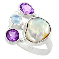925 silver 11.37cts natural white biwa pearl purple amethyst ring size 8 d35826