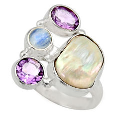 11.71cts natural white biwa pearl purple amethyst 925 silver ring size 7 d35827