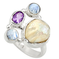 11.37cts natural white biwa pearl purple amethyst 925 silver ring size 7 d35828