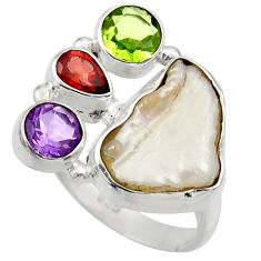 Clearance Sale- 11.02cts natural white biwa pearl amethyst garnet silver ring size 7.5 d35829