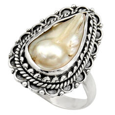 6.84cts natural white biwa pearl 925 sterling silver ring size 7.5 d35831