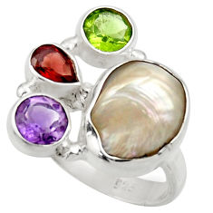 Clearance Sale- 10.37cts natural white biwa pearl amethyst garnet silver ring size 6.5 d35832