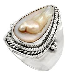 925 sterling silver 8.14cts natural white biwa pearl ring jewelry size 7 d35833