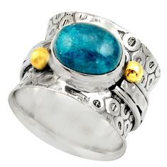 Clearance Sale- 4.49cts natural blue apatite silver 14k gold solitaire ring size 6.5 d35835