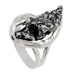 925 silver 13.65cts natural grey meteorite gibeon solitaire ring size 5.5 d35838