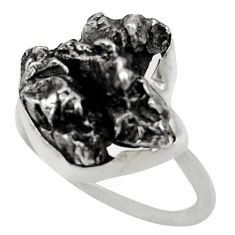Clearance Sale- 19.87cts natural grey meteorite gibeon 925 silver solitaire ring size 8.5 d35839