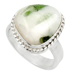 Clearance Sale- 7.66cts natural tourmaline in quartz 925 silver solitaire ring size 6.5 d35843