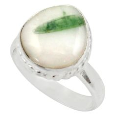 Clearance Sale- 7.12cts natural tourmaline in quartz 925 silver solitaire ring size 8.5 d35847