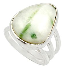 Clearance Sale- 14.61cts natural green tourmaline in quartz silver solitaire ring size 7 d35849