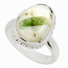 Clearance Sale- 6.56cts natural tourmaline in quartz 925 silver solitaire ring size 7.5 d35853