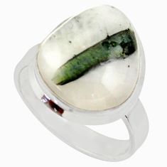 Clearance Sale- 14.99cts natural tourmaline in quartz 925 silver solitaire ring size 10.5 d35854