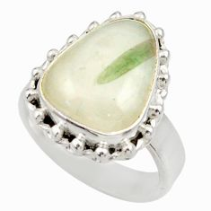Clearance Sale- 7.32cts natural tourmaline in quartz 925 silver solitaire ring size 6.5 d35859