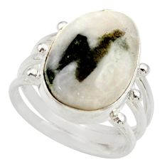 Clearance Sale- 10.33cts natural tourmaline in quartz 925 silver solitaire ring size 8 d35860