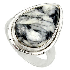 Clearance Sale- 14.72cts natural white pinolith 925 silver solitaire ring jewelry size 7 d35862