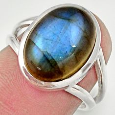 Clearance Sale- 925 silver 6.02cts natural blue labradorite solitaire ring jewelry size 7 d35875
