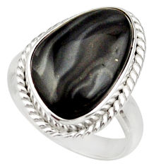 925 silver 8.22cts natural black psilomelane fancy solitaire ring size 7 d35886