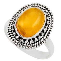 Clearance Sale- 5.52cts natural yellow amber bone 925 silver solitaire ring size 8.5 d35887