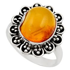 925 silver 5.38cts natural yellow amber bone solitaire ring size 7.5 d35891
